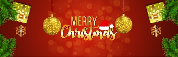 Golden text effect for merry christmas greeting card