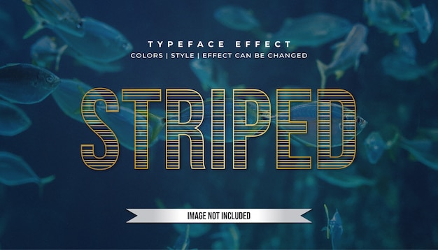Golden text effect with striped style