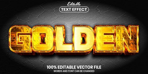 Golden text, font style editable text effect