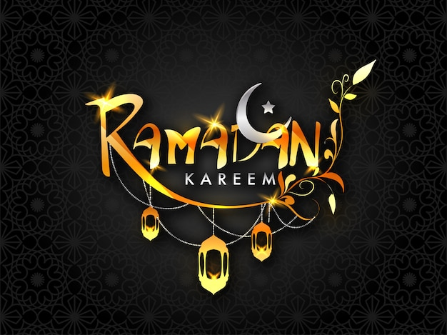 Golden text ramadan kareem with silver crescent moon, hanging lanterns on seamless floral