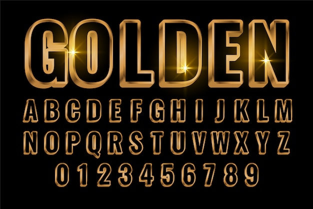 Golden text style effect in 3d style