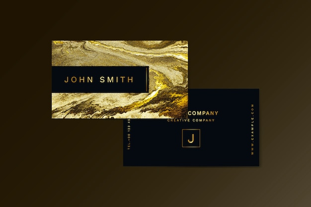 Golden textured business card template
