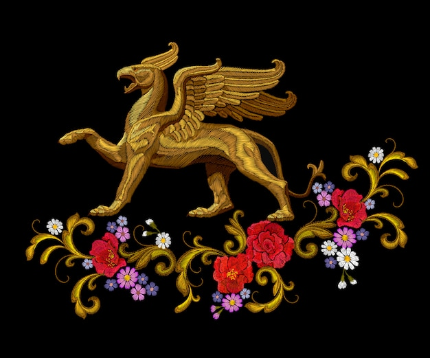 Golden textured embroidery griffin textile patch design. fashion decoration ornament fabric print.