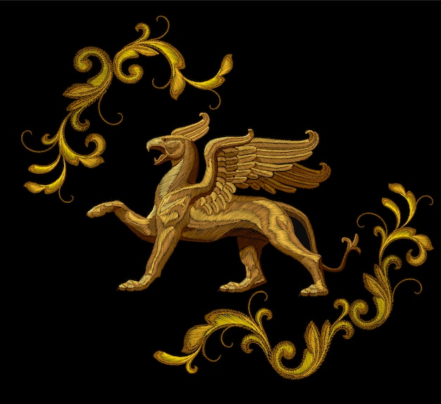 Golden textured embroidery griffin textile patch design. fashion decoration ornament