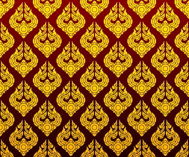 Golden thai pattern seamless art on dark red background