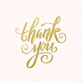 Golden thank you lettering