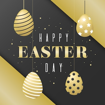 Golden theme for happy easter day