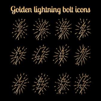 Golden thin line lightning bolts set