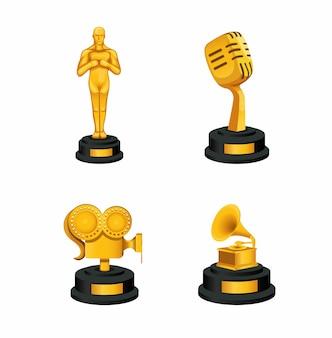 Значок награды золотой трепи установлен в концепции музыкальной и киноиндустрии в иллюстрации шаржа