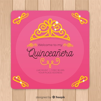 Golden tiara quinceañera  party invitation