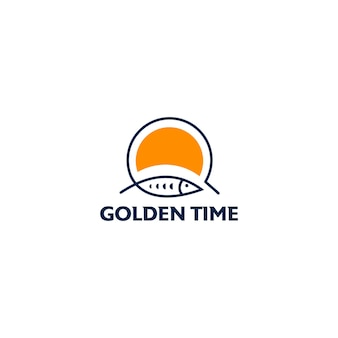 Golden time fishing logo design template