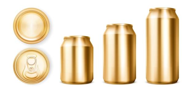 Barattoli di latta dorati per soda o birra nella vista anteriore, superiore e inferiore.