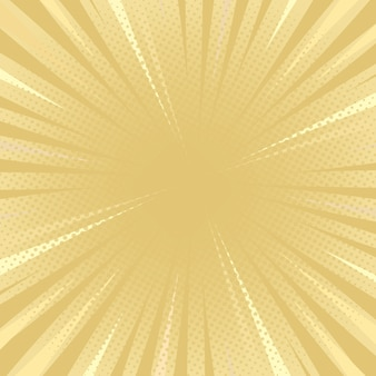 Golden tone comic flat style background with halftone