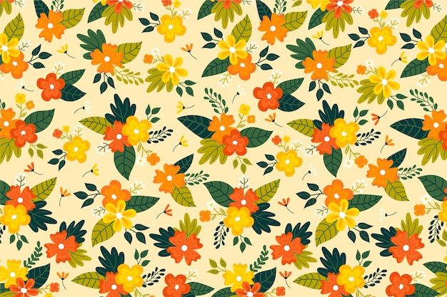 Golden tones of ditsy floral print background