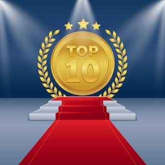 Golden top 10 best podium award