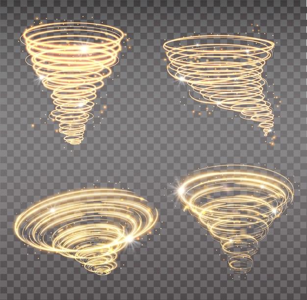 Золотой торнадо, закрученный штормовой конус звездной пыли сверкает на прозрачном фоне. золотая спираль со световым эффектом. набор магического торнадо звездной пыли, легкий ураган.