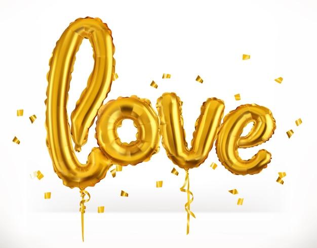 黄金のおもちゃの風船。愛。バレンタインデー、アイコン