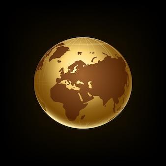 검은 배경 벡터에 고립 된 황금 투명 지구