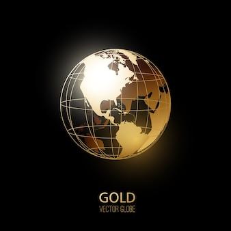 黒の背景に分離された黄金の透明な地球儀。