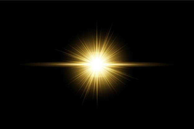 Золотой прозрачный свет линзы вспышки дизайн eps