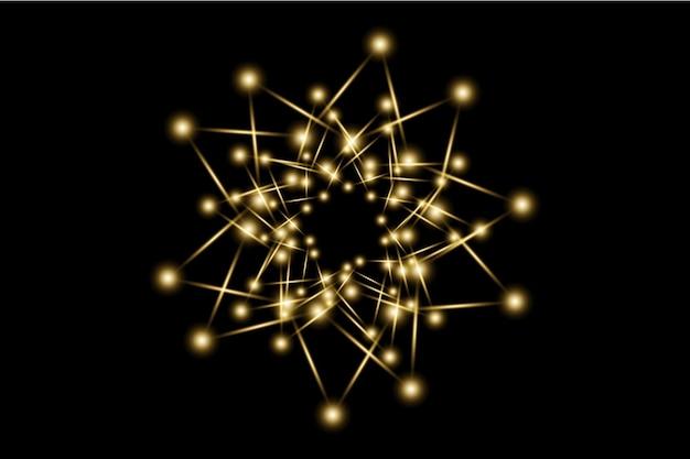 金色の透明な光レンズフレア