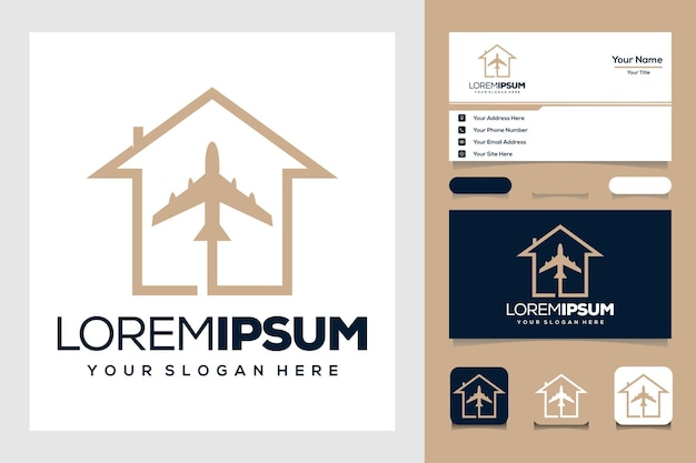 Golden travel with plane and home logo design and business card