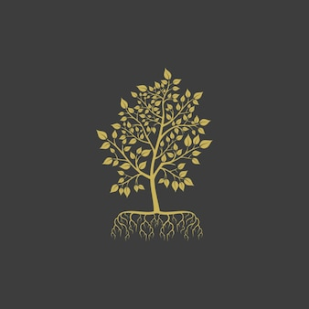 Золотое дерево с листьями и корнями