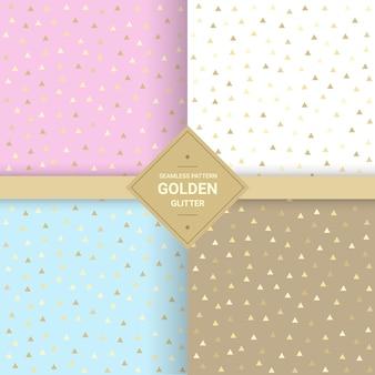 Golden triangle glitter seamless pattern