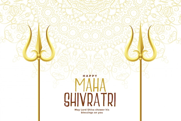 Golden trishul weapon for happy maha shivratri festival background