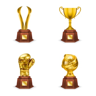 Golden trophies cups and awards on wooden stand, realistic illustration isolated on white