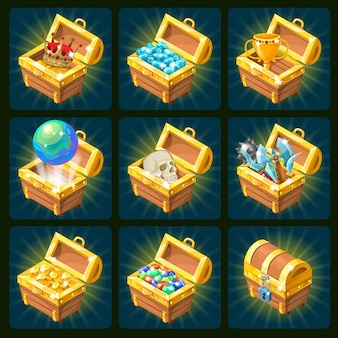 Golden trophies isometric icons set