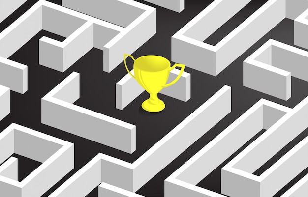 Golden trophy at center of maze.