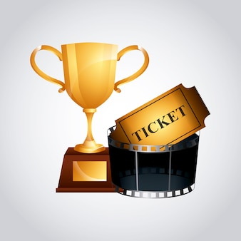 Golden trophy and cinema ticket icon
