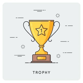 Golden trophy cup. thin line concept.
