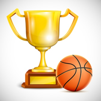 Golden trophy cup with basketball.