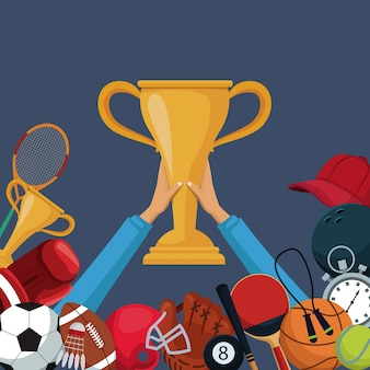 Golden trophy cup with border down of icons elements sport