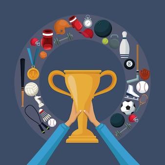 アイコンスポーツの周りに円形の境界線を持つ黄金のトロフィーカップ
