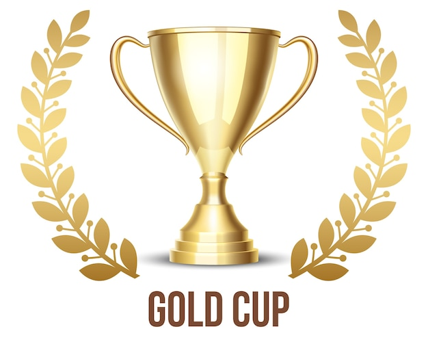 Golden trophy cup with laurel wreath