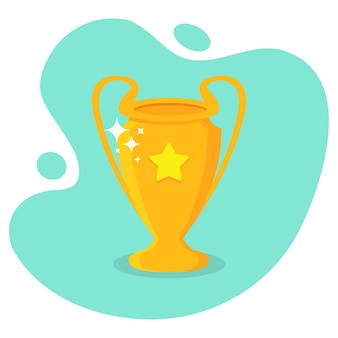 Golden trophy cup with star in a flat design. award winners trophy cup with shadow