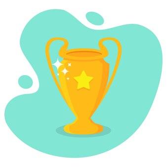 Золотой трофейный кубок со звездой в плоском дизайне. награждение победителей трофейный кубок с тенью