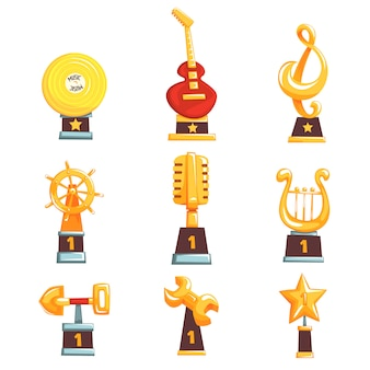 Golden trophy cups, awards and achievements set of cartoon  illustrations