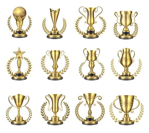 黄金のトロフィーカップ。月桂樹の花輪が付いた金のゴブレットとフィギュア、チャンピオン用のカップ。ベクトル現実的なスポーツ賞またはビジネス賞、サッカースターの勝利のトロフィー