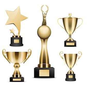 Golden trophy cups realistic collection