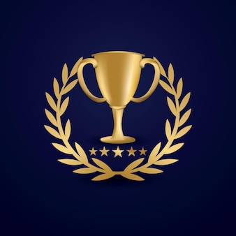 月桂樹の花輪と黄金のトロフィーカップ