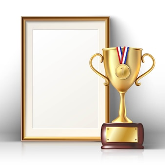 Golden trophy and picture frame with wooden border. isolated illustration.