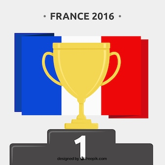 Golden trophy with france flag background of euro 2016 Free Vector