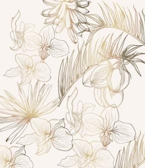 黄金の熱帯の花のラインアート。夏の花のフレームの装飾