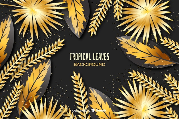Golden tropical leaves background