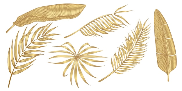Золотые тропические листья на белом фоне.