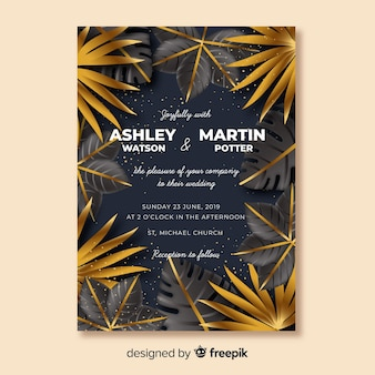 Golden tropical leaves wedding invitation